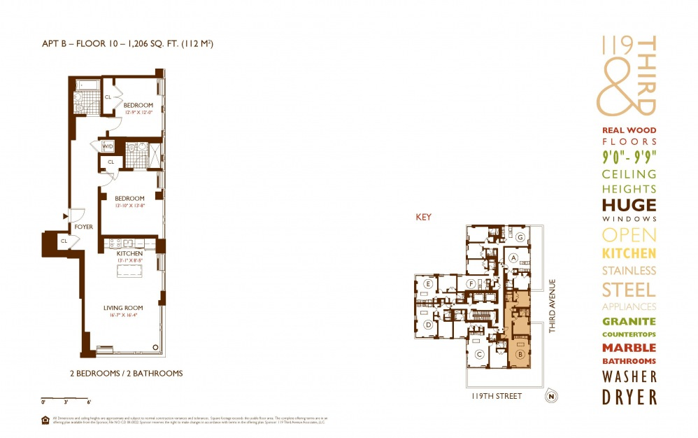 B Line 10 - 2 bedroom floorplan layout with 2 baths and 1206 square feet.