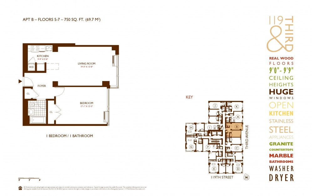 B Line 5-7 - 1 bedroom floorplan layout with 1 bath and 750 square feet.