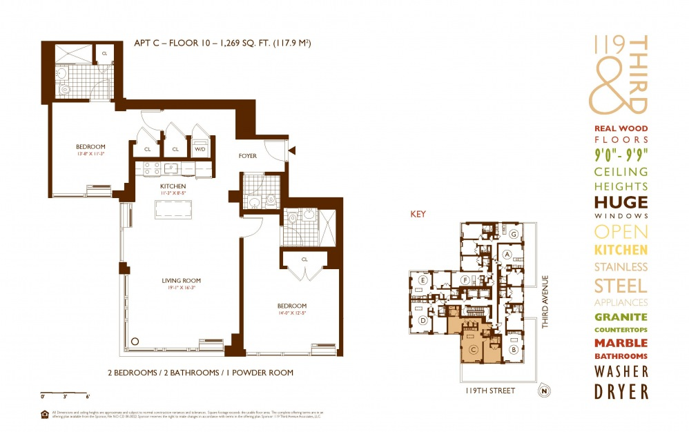 C Line 10 - 2 bedroom floorplan layout with 2 baths and 1269 square feet.