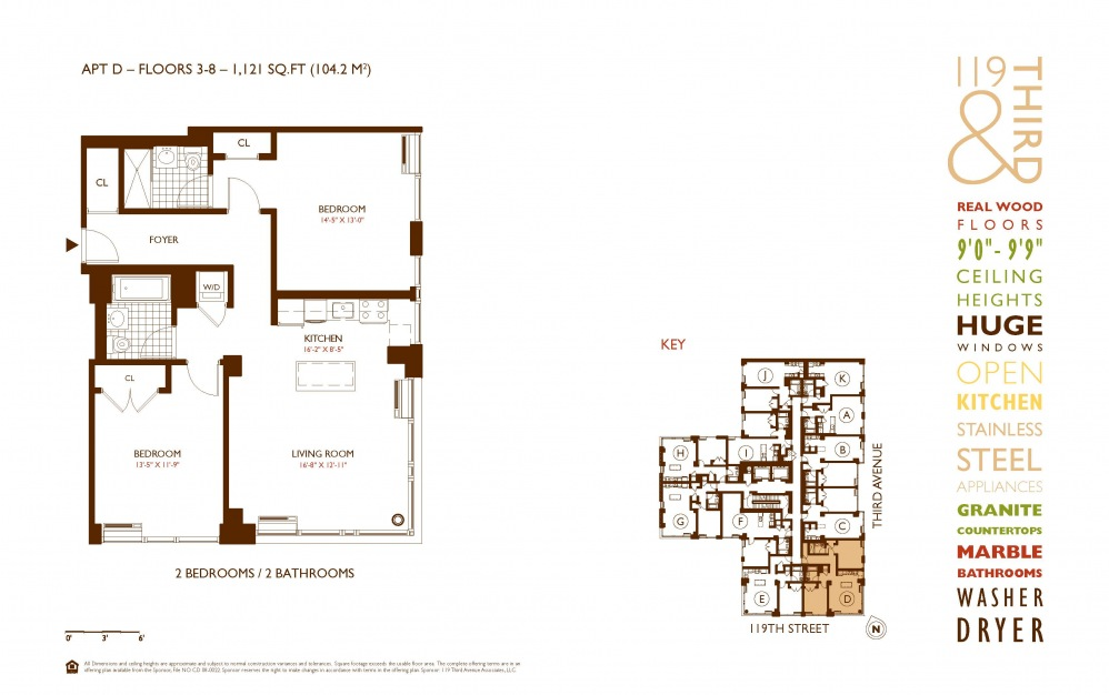 D Line 3-8 - 2 bedroom floorplan layout with 2 baths and 1121 square feet.