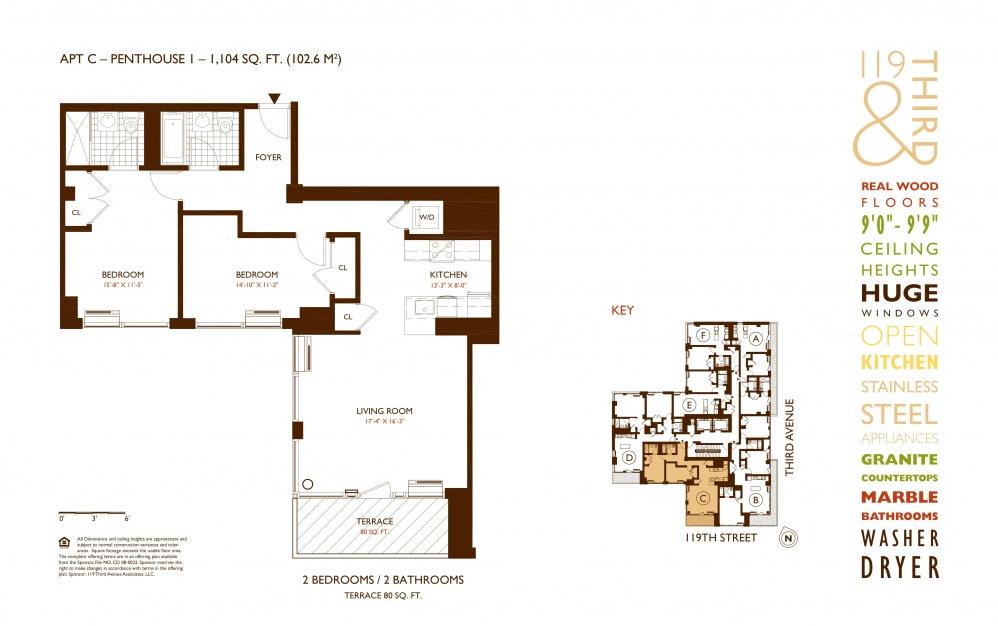 PH1C (FLOOR 12) - 2 bedroom floorplan layout with 2 baths and 1104 square feet.