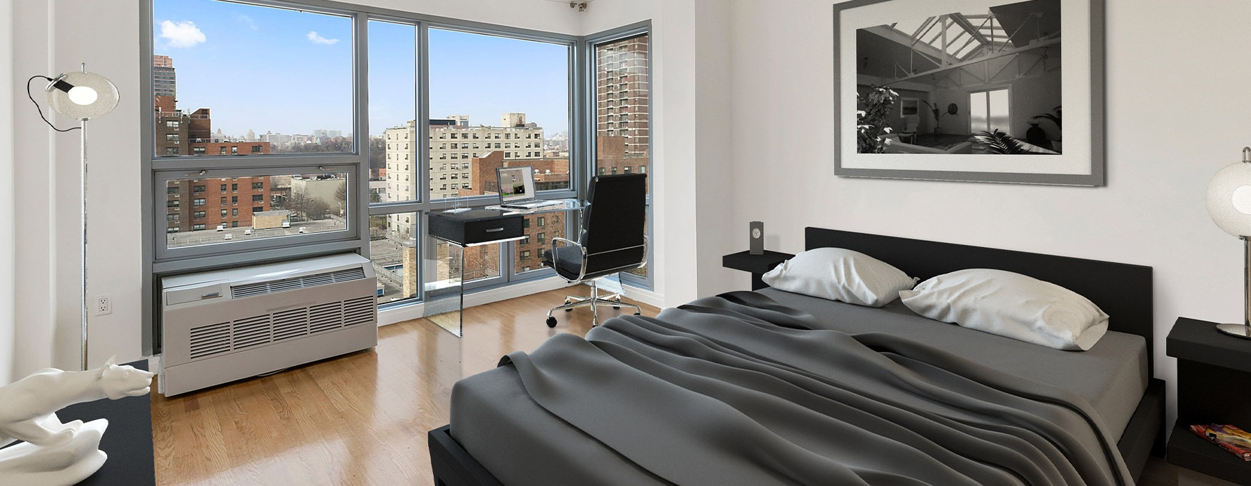 Bedroom with floor-to-ceiling windows and a view of the City